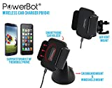 PowerBot® PB1041 Qi Wireless Car Charger Qi Enabled Dashboard & Vent Bracket Mount Holder w/ Rapid Charge, Auto System Lock, and Suction Cup for Universal Compatibility Nokia, Nexus 5 /4, Samsung, LG, HTC, iPhone & More