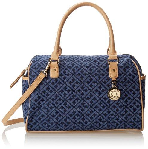 Tommy Hilfiger Tommy Club Satchel Jacquard Top Handle Bag,Navy/Lapis,One Size