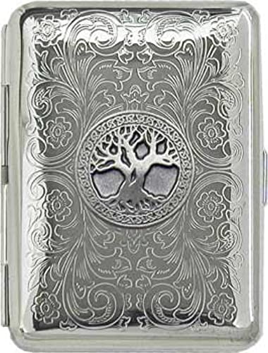 01. 'Celtic Tree of Life' Slim King Florentine Chrome Pocket Case / Cigarette Case (Gift Box Edition)