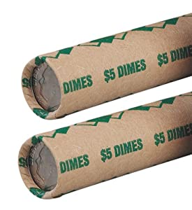 PM Company SecurIT $5.00 Dime Pre-Crimped Tubular Coin Wrappers, 3 Inches Length, Brown/Green, 1000/Carton (65071)