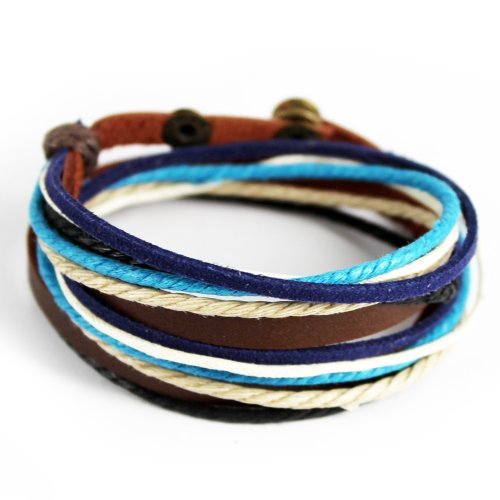 Wild Wind Multi-Strand Thick Braided Button Adjustable Wrap Bracelet Blue