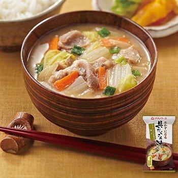 アマノフーズ フリーズドライ 味噌汁 おかずになる具だくさん汁 シャキシャキ白菜の豚汁 17.5g×8食セット(即席 味噌汁)