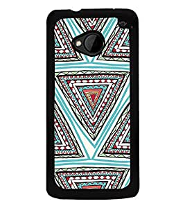 ifasho Designer Phone Back Case Cover HTC M7 :: HTC One M7 ( Black Maroon Light Brown Colorful Pattern Design )