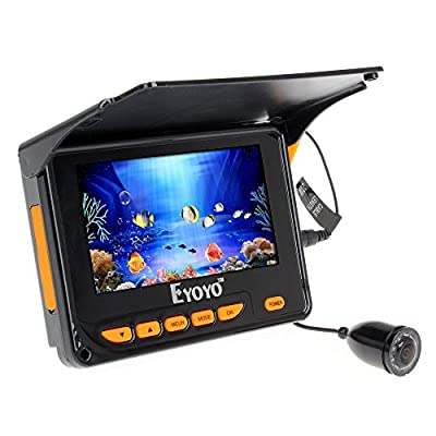 "EYOYO 4.3"" HD Monitor Underwater Fishing Camera Fish Finder DVR Recorder Video Camera Easy Install on the Rod+30M Cable"
