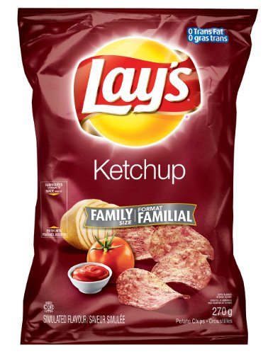 Canadian Lays Ketchup Flavour Chips [3 Large Bags] (Lays Canada compare prices)