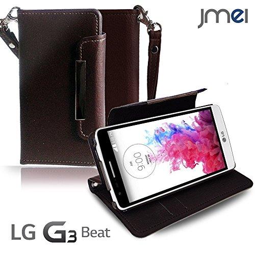 LG G3 Beat ケース LG-D722J JMEIオリジナルレザー手帳ケース LG-D722J Dandy ワイン(無地) UQ mobile ユーキュー モバイル simフリー ストラップ付き スマホ カバー スマホケース LG-D722J 手帳型 スマートフォン