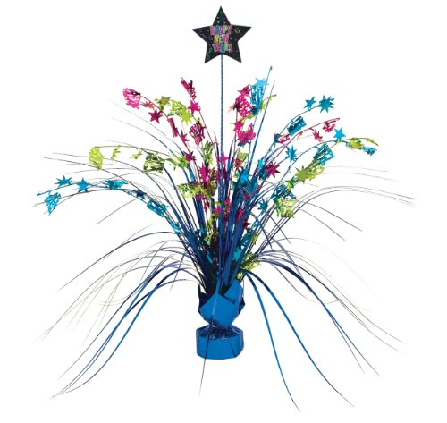 Happy New Year Multi Colored 15in Spray Centerpiece