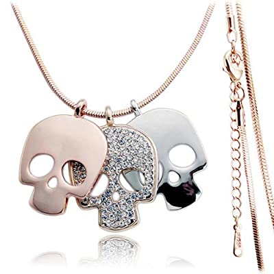 Gold plated bling triple color skull pendant necklace,fashion necklace,long necklace,X'mas gift for girl,women-NGG150