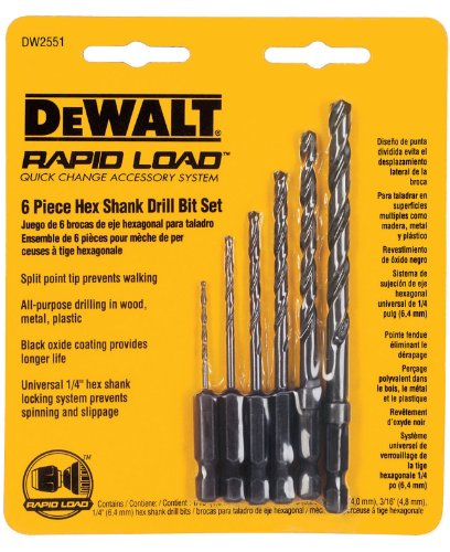 DEWALT DW2551 6 Piece 1/16-Inch to 1/4-Inch Hex Shank Twist Drill Assortment