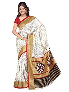 Winza latest printed bhagalpuri cotton wedding saree for ladies girls (Great indian diwali Sale offer deal)