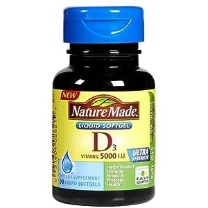Nature Made Vitamin D-3, 5000IU, 90 Softgels