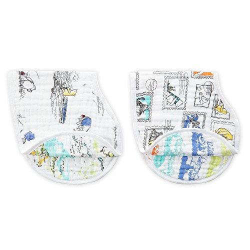 Aden + Anais (エイデンアンドアネイ) 【日本正規品】 モスリンコットン バーピービブ 2枚セット winnie the pooh burpy bibs-DISN280J