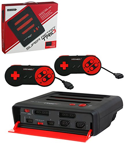 Retro-Bit Super RetroTRIO Console NES/SNES/Genesis 3-In-1 System - Red/Black (Genesis Original Console compare prices)