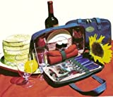 En Route Travelware 826 Travel Picnic Kit for Two Denim-Red Check
