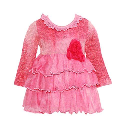 Lipstik Baby Girls 6-12M Hot Pink Knit Ruffled Long Sleeve Top front-864051