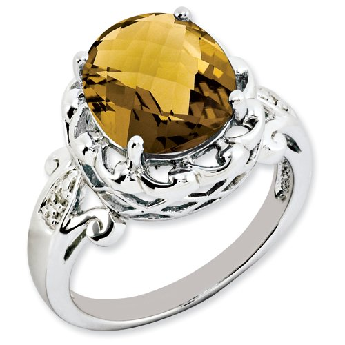 Sterling Silver Oval Whiskey Quartz & Diamond Ring