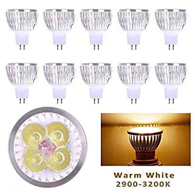 10PC (10-Pack) 4W 12/110V LED MR16 Bulb,40W Halogen Bulbs Equivalent,Pure/Warm White ¡­