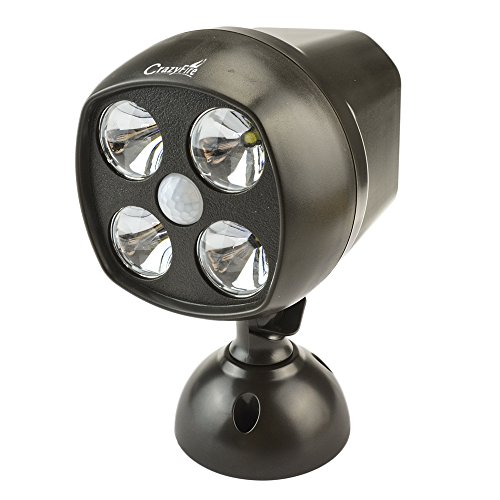 Motion Activated LED Night Light,CrazyFire LED Motion Security Light with PIR Motion Sensor Detector and Photocell,Wireless LED Motion Spotlight Indoor Outdoor Flood Lights,Powered By 4pcs D-cell Batteries (43w Led Bulbs,600 Lumens) (Motion Detector Lights Outdoor compare prices)