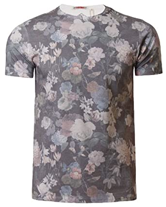men 39 s floral print t shirt threadbare mmt 034 graphic summer casual tee top floral print x
