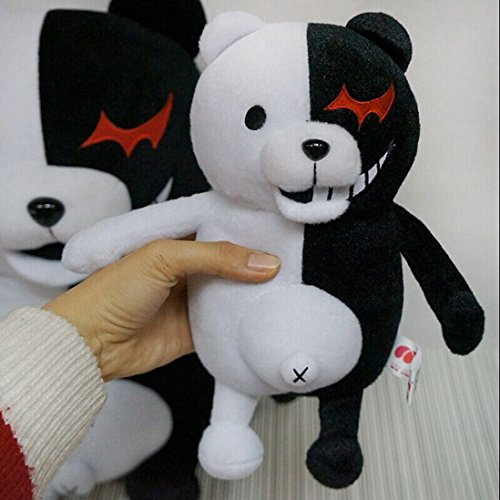 25cm Dangan Ronpa Super Danganronpa 2 Mono Kuma Black&White Bear Plush Doll Toy new stuffed light brown squint eyes teddy bear plush 220 cm doll 86 inch toy gift wb8316