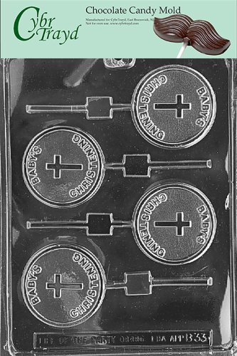 Cybrtrayd B033 Baby'S Christening Lolly Chocolate Candy Mold With Exclusive Cybrtrayd Copyrighted Chocolate Molding Instructions front-985342