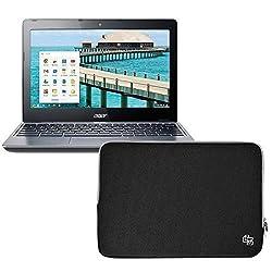 Case Star ' Premium Zipper Neoprene 11 Inch Laptop Sleeve Case Carrying Bag for Acer C720-2420/C720-2848 Chromebook 11.6-Inch (Black)