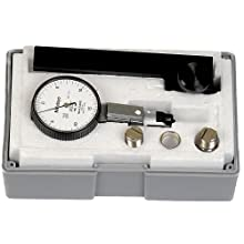 Mitutoyo 513-302GT Dial Test Indicator, Full Set, Universal Type, 0.375&#034; Stem Dia., White Dial, 0-15-0 Reading, 1.575&#034; Dial Dia., 0-0.03&#034; Range, 0.0005&#034; Graduation, +/-0.0005&#034; Accuracy