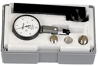 "Mitutoyo 513-302GT Dial Test Indicator, Full Set, Universal Type, 0.375"" Stem Dia., White Dial, 0-15-0 Reading, 1.575"" Dial Dia., 0-0.03"" Range, 0.0005"" Graduation, +/-0.0005"" Accuracy"