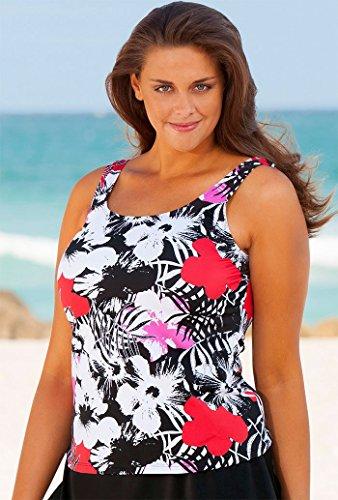 Beach Belle Newspaper Plus Size Floral Tankini Top Plus Size Swimwear - Black/Red - Size:16