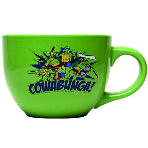 Silver Buffalo NT6324 Teenage Mutant Ninja Turtles Cowabunga! Ceramic Soup Mug, 24 oz, Green (Ninja Turtle Coffee Mug compare prices)