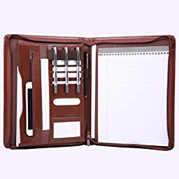 Leather File Folder Padfolio Writing Pad Leather Business Presentation Folder Portfolio (Brown-A4-4L)