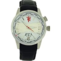Manchester United FC Black Genuine Leather Date Football Watch GA4443