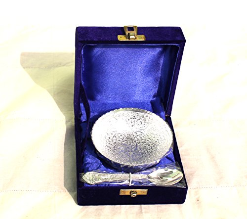 MAITHIL ART Royal Engraving Design with Decorative Gifting Box,Bowl Platter Tray with Spoon Silver Plated Brass (Round Shape Bowel Silver Coated) (Food Mixer With Bowel compare prices)