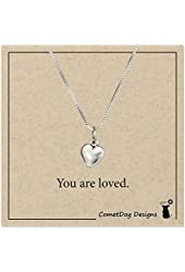 Sterling Silver 18 inch Tiny Puffed Heart Necklace