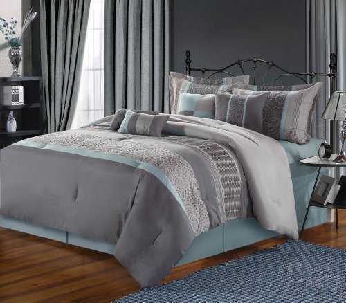 Chic Home 8-Piece Euphoria Embroidered Comforter Set, Queen, Blue/Grey