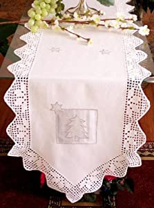 """100% Luxury Cotton Embroidery with Handmade Crochet Table Cloth / 15x54"""" Runner"""