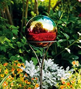 Weather-Resistant Stainless Steel Gazing Ball with Iron Ground Stake in Mystic