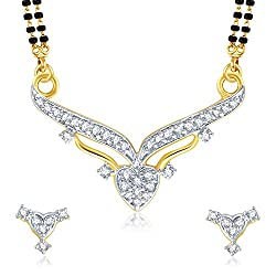 VK Jewels Gold And Rhodium Plated Mangalsutra Pendant with Earrings for Women-MP1038G [VKMP1038G]