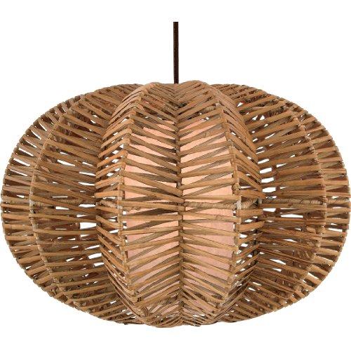 Quoizel RNT1818 1 Light Antigua Rattan Pendant, Handmade Paper Inner Shade