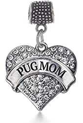 Inspired Silver Pug Mom Pave Heart Memory Charm Fits Pandora Bracelets & Compatible with Most Major Brands such as Chamilia, Murano, Troll, Biagi and other European Bracelets