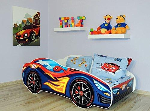Lit auto bleu+ sommier + matelas 160x80 cm