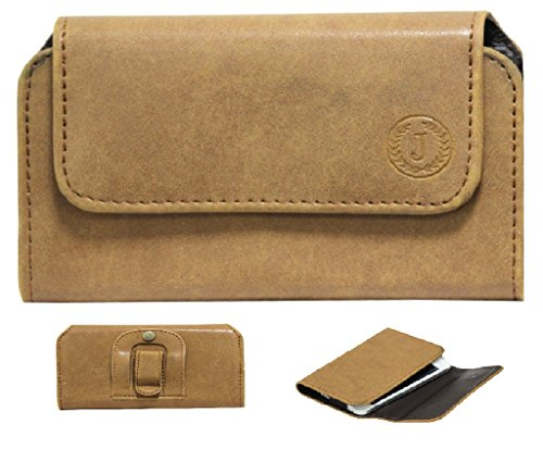 Jo Jo A4 Nillofer Belt Case Mobile Leather Carry Pouch Holder Cover Clip For Yu Yotopia Tan