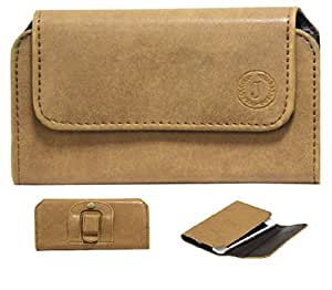 Jo Jo A4 Nillofer Belt Case Mobile Leather Carry Pouch Holder Cover Clip For Phicomm Passion P660 Tan