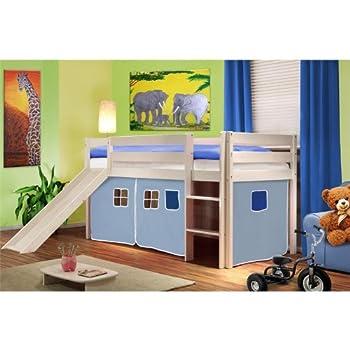 pas cher lit sur lev d 39 enfants avec toboggan bois de pin massiv blanc bleu clair shb 26. Black Bedroom Furniture Sets. Home Design Ideas