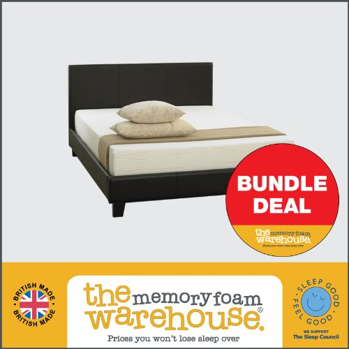 Price Buster Black Faux Leather Double Bed Bundle Deal