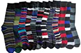 12 Pairs of excell Mens Designer Dress Socks Assorted Striped Patterns, #2700