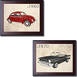1960\'s Bug & 1970 Chevy by Sd Graphics 2-pc Premium Framed Canvas Set (Ready-to-Hang)