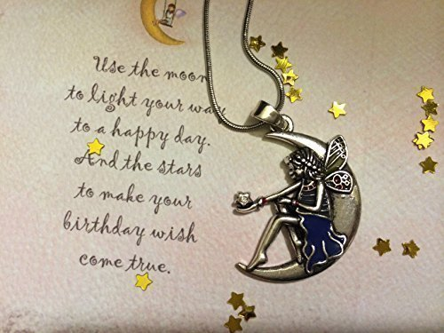 Cheapest Price! Birthday Moon Fairy Angel Gift Set, Nostalgic Origami Game (Cootie Catcher, Fortune Teller), Moon Angel Necklace, Gold Star Confetti, Inspirational Greeting Card