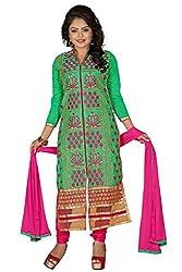 JHEENU Green Rani Women's Chanderi unstitched Straight Salwar Suit dress mate...