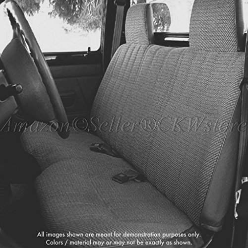A25 Toyota Pickup Front Solid Bench Charcoal Seat Covers, Triple Stitched with 8mm Extra Thick Padding, Molded Headrests, Seat Belt Cutout, Small 2